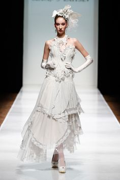 A model walks the runway at the SLAVA ZAITSEV Haute Couture show during Mercedes-Benz Fashion Week Russia S/S 2014 on October 31, 2013 in Mo...