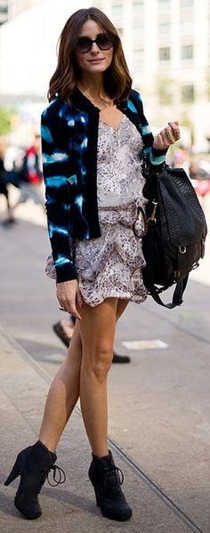 Amazing print dress, jacket and the proenza suede booties are a need!!!!