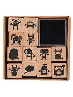 Holz Stempel Set Monster Ministempel