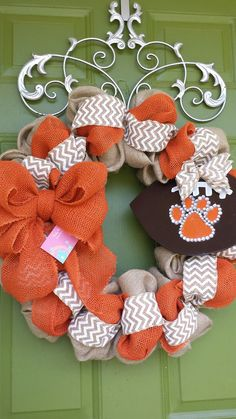 Cleson Tigers Burlap Wreath with Football by CurlyQsCreation