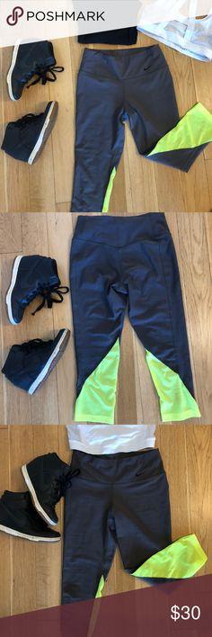 Nike Grey & Neon Mesh Crop Leggings Nike Light Grey with Neon Mesh Cropped Work Out Pants Dri- Fit Maybe worn once Nike Pants Leggings