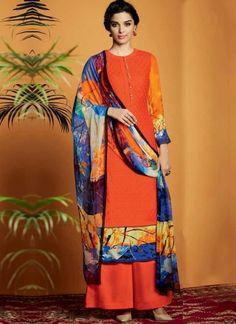 Blue Orange Embroidery Work Cotton Satin Designer Printed Pakistani Palazzo Suit www.angelnx.com/Salwar-Kameez