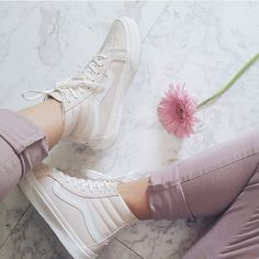 """""""Pretty in Whispering Pink via /auralune/ Sock Shoes, Vans Shoes, Cute Shoes, Me Too Shoes, Shoe Boots, Shoes Sneakers, Vans Old Skool, Baskets, Basket Mode"""