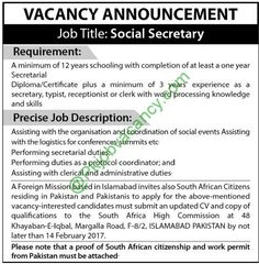 Islamabad Foreign Mission Social Secretary Jobs 8 February 2017