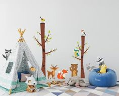 The Cutest Woodland Animals Wall Decal For Nursery. Forest theme decals for nursery. Woodland Theme decals for nursery - Modern Animal Wall Decals, Nursery Wall Decals, Forest Theme, Woodland Theme, Woodland Animal Nursery, Woodland Animals, Toddler And Baby Room, Kids Church Rooms, Forest Friends