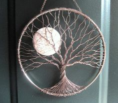 Calming Tree, Wire Tree of Life Wall Hanging, Sun Catcher, Tree Decor with Howlite Moon by ramona Dreamcatchers, Baby Crafts, Diy And Crafts, Crafts With Yarn, Dream Catcher Craft, Making Dream Catchers, Dream Catcher Patterns, Diy Tumblr, Wire Trees