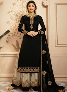 Black Golden Embroidered Indian Gharara/Churidar Suit is a steal the deal indian outfit showcasing glamorous style and elegance with its unique embroidered combination of zari, resham and stone wor. Black Salwar Kameez, Sharara Suit, Churidar Suits, Lehenga Suit, Lehenga Choli, Indian Dresses, Indian Outfits, Bollywood Suits, Pakistani Suits