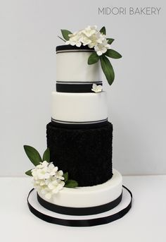 Black and White Wedding Cake with White Hydrangeas by Midori Bakery