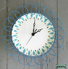 Vintage 50s 60s Retro Aqua Mid Century Wire Dish Wall Clock Repurposed Redo Restored
