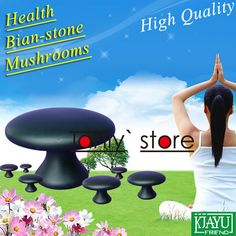 High quality! Traditional Acupuncture Massage Tool Guasha Board natural bian stone mushroom massager