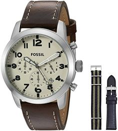 Fossil Mens Pilot 54 Chronograph Leather and Nylon Box Set -- See this great product. Fossil Watches For Men, Best Watches For Men, Luxury Watches For Men, Cool Watches, Wrist Watches, Men's Watches, Best Watch Brands, Luxury Watch Brands, Nylons