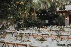 Elegant-Boho Palm Springs Wedding, Long Tables with Tropical-Inspired Centerpieces