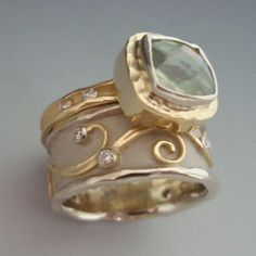 Anns Jewelry || 18k yellow gold, prehnite, diamonds - 14k white gold, 18k yellow gold, diamonds ($2800 - $2400)