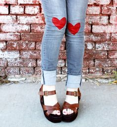 D.I.Y. Heart Jeans~Simple and cute for me and daughter to do!  Just in time for Valentines day too!!