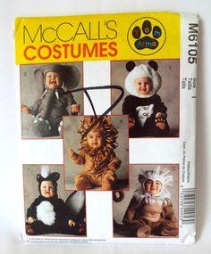 McCalls M6105 Toddler Girl Boy #Halloween #Costume Sewing Pattern Lion Monkey Panda Size 1 New Uncut