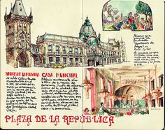 I really admire this much detail. Travel Sketchbook, Sketchbook Pages, Memory Journal, Journal Diary, Diy Notebook, Journal Notebook, Sketchbook Inspiration, Journal Inspiration, Budapest