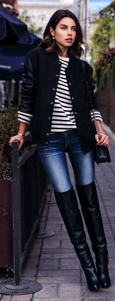 Love these boots! Varsity Blues Outfit by Vivaluxury. Via @LayaFashions. #denim #boots