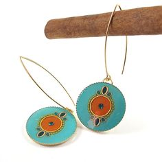 Turquoise earrings  gold dangle earrings long by @Sigalit Aharoni Alcalai, #colors #turquoise