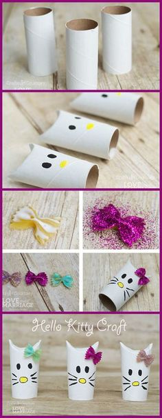 Create your own Simple Hello Kitty Craft using just toilet paper rolls! It's perfect for a Hello Kitty theme birthday party or just a fun kids craft to do! Cat Crafts, Fun Crafts For Kids, Toddler Crafts, Preschool Crafts, Diy For Kids, Crafts To Make, Dragon Crafts, Horse Crafts, Toilet Paper Roll Diy