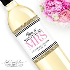 Custom Bridal Shower Wine Labels - Personalized Bachelorette Champagne Bottle Label - Faux Glitter H
