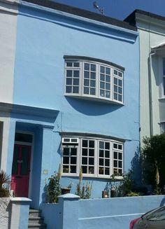 Blue house, pink door