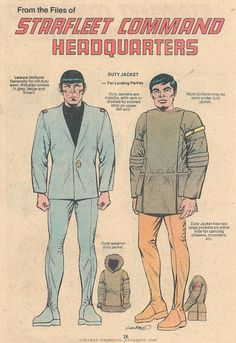 From the files of Starfleet Command Headquarters, the Leisure Uniform and the Away Team Duty Jacket as seen in Star Trek: The Motion Picture.