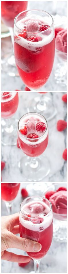 Raspberry Sorbet Bellinis - These three ingredient sweet raspberry sorbet bellinis are perfect for a spring or summer brunch or dessert cocktail!