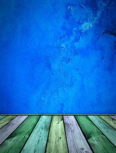 stained floor boards blue