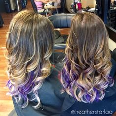 Natural brown to platinum balayage ombre with violet highlights. Medium length hair. Curled hair. Purple highlights. Violet highlights. Blonde ombre. Blonde balayage.