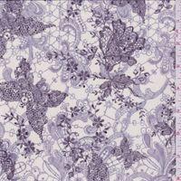 Ivory/Purple Floral Stretch Mesh