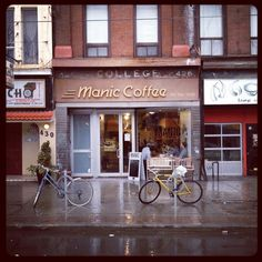 """I must go here!  Manic coffee in Toronto makes a mean latte. I'm happy anytime I find Intelligentsia coffee on a menu, and the high standard coffee geekery of this place didn't disappoint (overheard, between baristas: """"oh, you'll really need to re-steam that; it's too thick."""")."""