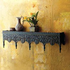 HAND CARVED BLUE SHELF