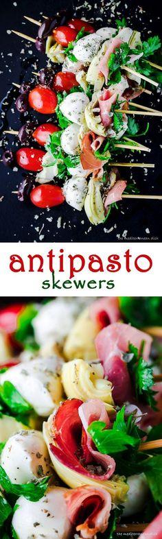 Antipasto Skewers! See this easy, crowd-pleasing appetizer at The Mediterranean Dish!