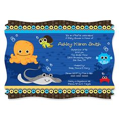 Under The Sea Critters - Baby Shower Invitations