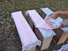 Spray painting a lace pattern onto furniture!