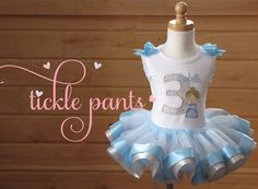 Cinderella Birthday Tutu Outfit Baby blue and by TicklePants