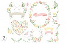 Flower wreaths pastel heart antlers by GrafikBoutique on Creative Market
