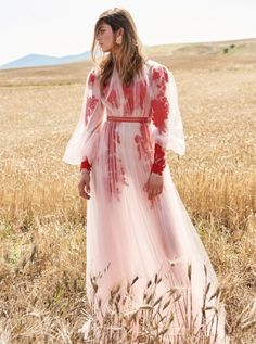Costarellos Resort 2018 Collection PS18-25 Bishop Sleeve Ethereal Tulle Dress With Red Applique Flowers, Vintage Rose