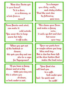 Treasure Hunt Clue Cards- Page 2 | elfoutfitters.com #elfoutfitters free printable christmas day treasure hunt