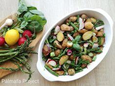 Recept: májusi újkrumpli saláta Black Eyed Peas, Sprouts, Meat, Chicken, Vegetables, Food, Essen, Vegetable Recipes, Meals