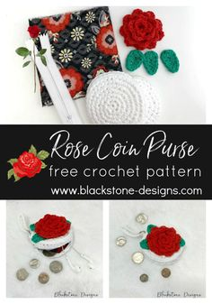 Rose Coin Purse free crochet pattern from Blackstone Designs  #freecrochetpattern #crochet #pdfpattern #coinpurse #rosecoinpurse #freecrochetrose #crochetrose