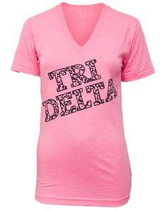 Delta Delta Delta Don't Tri Leopard V-neck