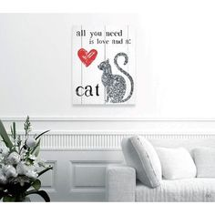 "Brayden Studio 'Love and a Cat' Painting Print on Wrapped Canvas Size: 24"" H x 20"" W x 1.5"" D"