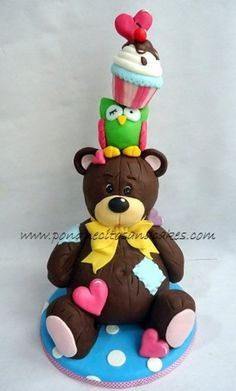 Teddy owl cake tower