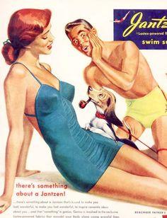 1949 Pete Hawley pinup pin-up girl art Jantzen women's swimsuit vintage print ad Vintage Advertisements, Vintage Ads, Vintage Prints, Poster Vintage, Images Vintage, Baby Boomer, Vintage Swimsuits, Old Ads, Bathing Beauties