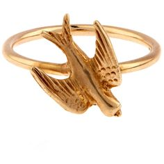Annina Vogel Gold Swallow Ring ($600) ❤ liked on Polyvore featuring jewelry, rings, antique victorian ring, charm rings, antique jewellery, victorian ring and antique yellow gold rings
