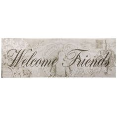 "Furnistar Decorative Wood Wall Hanging Sign Plaque ""Welcome Friends"" Seafoam. Add some class and style to your kitchen front hall or living room with this beautiful wall sign. Greet visitors with a slender pale green script that reads Welcome Friends against a background of faded vintage images - scroll designs and a cherub framed by an intricate border. This piece makes a lovely statement on any wall and is an excellent wedding anniversary or housewarming gift"