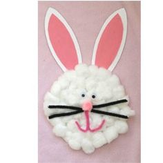 Cotton Ball Easter Bunny Craft. Easy and a fun twist using pipe cleaners for the mouth and whiskers. My kids had a blast