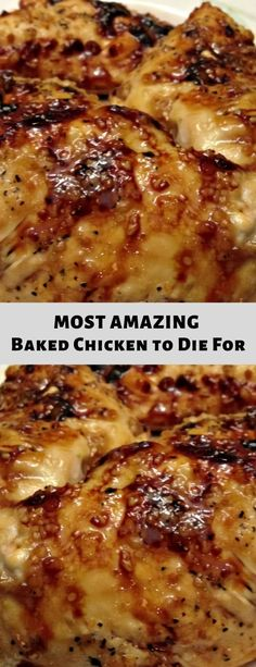 Most Amazing Baked Chicken to Die For Recipe - Lillian Kitchen Yummy Chicken Recipes, Meat Recipes, Cooking Recipes, Yummy Food, Healthy Recipes, Recipe Chicken, Baked Chicken Crockpot, Dinner Recipes, Chicken Meals