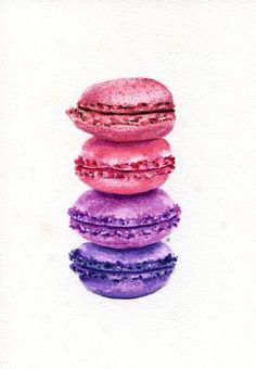 Pittura originale - Macarons! (Acquerelli di cibo dolce parete arte, natura morta) A5